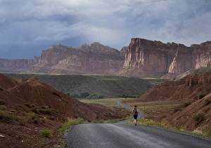 Pictures Roads Mountains USA Parks Running Cliff Canyons Grand Canyon, Arizona, Colorado plateau Nature