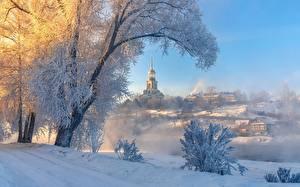 Bilder Russland Winter Kirche Gebäude Bäume Nebel Schnee Torzhok, Tver region Städte