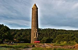 Tapety na pulpit Szkocja Pomnik Wieża Trawa Ławka Largs, North Yorkshire miasto