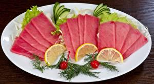 Images Seafoods Fish - Food Lemons Dill Plate Sliced food Tuna