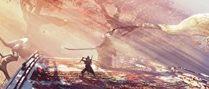 Pictures Sekiro: Shadows Die Twice Samurai Swords Fight Rays of light Ninjas vdeo game