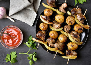 Picture Shashlik Potato Ketchup Food