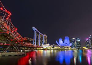 壁纸、、シンガポール、住宅、橋、湾、夜、クリスマスライト、