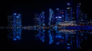 Fotos Singapur Wolkenkratzer Nacht Megalopolis Spiegelung Spiegelbild