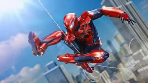 Desktop wallpapers Spiderman hero Jump vdeo game
