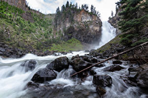 Images Stones Waterfalls Parks USA Rock Yellowstone Wyoming Nature