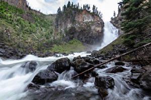 Hintergrundbilder Steine Wasserfall Park USA Felsen Yellowstone Wyoming