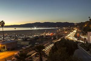 Wallpaper Sunrise and sunset Coast USA California Los Angeles County, Santa Monica Cities