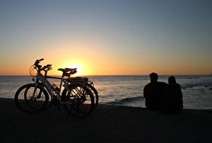 Wallpapers Sunrise and sunset Sea Spain Bicycles Two Sit Hugs Canary Islands Maspalomas, Gran Canaria