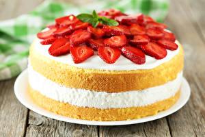 Bilder Süßigkeiten Torte Erdbeeren Design das Essen