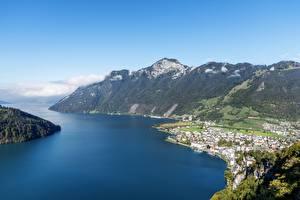 Hintergrundbilder Schweiz Gebirge See Von oben Ingenbohl, Canton of Schwyz, Lake Lucerne Natur