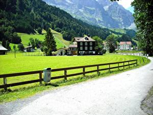 Pictures Switzerland Roads Houses Fence Alps Lucerne, Canton of Schwyz Cities