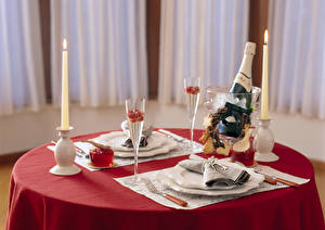 Picture Tablecloth Table appointments Candles Flame Champagne Table Plate Fork Bottle Stemware