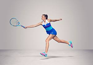 Wallpaper Tennis Running Gray background Legs Czech WTA Karolina Pliskova Girls