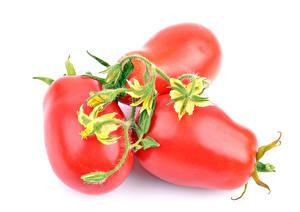 Fotos Tomate Großansicht Weißer hintergrund Drei 3 das Essen