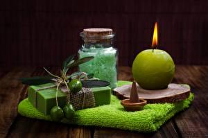 Fotos Handtuch Kerzen Seife Salz Weckglas Spa