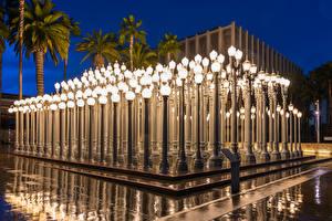 Fotos Vereinigte Staaten Abend Los Angeles Museen Straßenlaterne Design Los Angeles County Museum of Art Städte