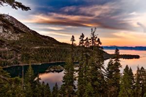 Bilder Vereinigte Staaten See Wälder Gebirge Sonnenaufgänge und Sonnenuntergänge Kalifornien Lake Tahoe, Sierra Nevada