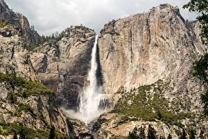 Bilder USA Gebirge Wasserfall Parks Kalifornien Felsen Yosemite Sierra Nevada, Yosemite Falls