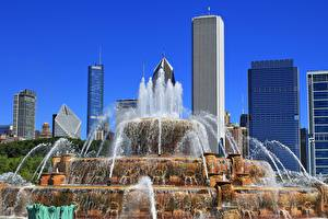 Fondos de escritorio Estados Unidos Rascacielos Fuente Parques Chicago Ciudad Illinois, Buckingham Fountain, Grant Park