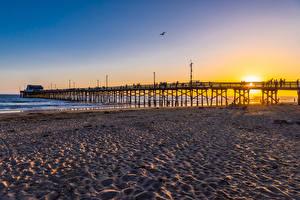 Bilder USA Sonnenaufgänge und Sonnenuntergänge Küste Brücken Strände Newport Beach
