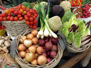 Wallpapers Vegetables Onion Tomatoes Mushrooms Wicker basket