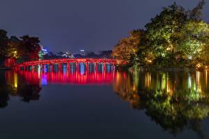 Hintergrundbilder Vietnam Park Flusse Brücken Nacht Bäume Hanoi Natur