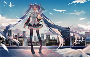 Papel de Parede Desktop Vocaloid Hatsune Miku Saia Megafone Cabelo Meninas
