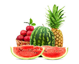 Wallpaper Watermelons Pineapples Apples White background Piece Food
