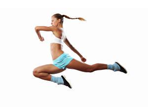 Fotos Weißer hintergrund Braune Haare Trainieren Sprung Hand Bein junge Frauen Sport