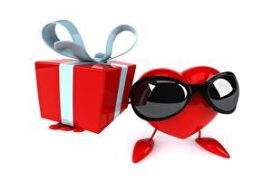 壁纸,,白色背景,眼鏡,心形符號,禮物,盒子,蝴蝶結,3D图形