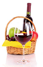 Pictures Wine Fruit White background Wicker basket Stemware Bottle Food