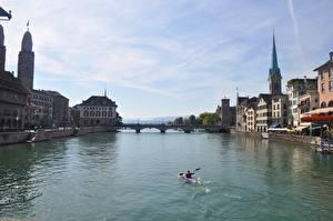 Pictures Zurich Switzerland Rivers Bridge Boats Building Limmat River, Canton of Zurich