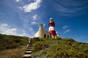 Fotos Afrika Leuchtturm Hügel Treppe Strauch Cape Agulhas Lighthouse South Africa