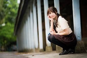 Wallpapers Asiatic Glance Sit Pretty Brown haired Bokeh female