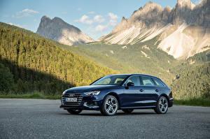 Sfondi desktop Audi Blu colori Metallizzato 2019 A4 Avant 35 TDI Worldwide macchina