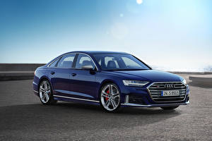 Sfondi desktop Audi Blu colori Metallizzato 2019 S8 Worldwide (D5) macchina