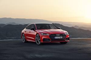 Bilder Audi Rot Limousine Sportback A7 2019 auto