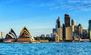 Image Australia Houses Coast Sydney Bay Opera House Cities