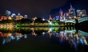 Wallpaper Australia Melbourne Building Rivers Bridges Night Reflection