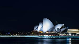 Pictures Australia Night time Sydney Opera House Cities