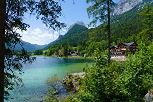 Hintergrundbilder Österreich Berg Wald See Gebäude Strauch Hintersee Ramsau