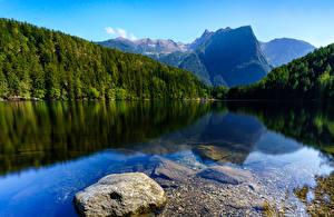 Hintergrundbilder Österreich Flusse Gebirge Wald Steine Oetztal Tyrol