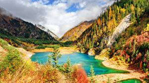Pictures Autumn Mountain Lake China Parks Jiuzhaigou park Scenery Sichuan province Nature