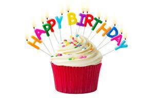 Papel de Parede Desktop Aniversário Cupcake Velas Fundo branco Ingleses Texto comida