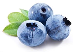 Image Blueberries Closeup Macro White background Three 3 Food