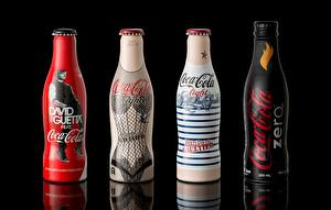 Pictures Brand Coca-Cola Bottles Four 4 Black background Food