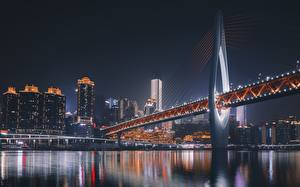 Images Bridges China Houses River Night Chongqing Cities