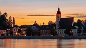 Tapety na pulpit Budapeszt Węgry Świt i zachód słońca Kościół Rzeki Domy Wieczór Danube