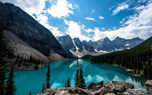 Desktop hintergrundbilder Kanada Parks See Gebirge Wälder Landschaftsfotografie Banff Rocky Mountains, lake Louise Natur